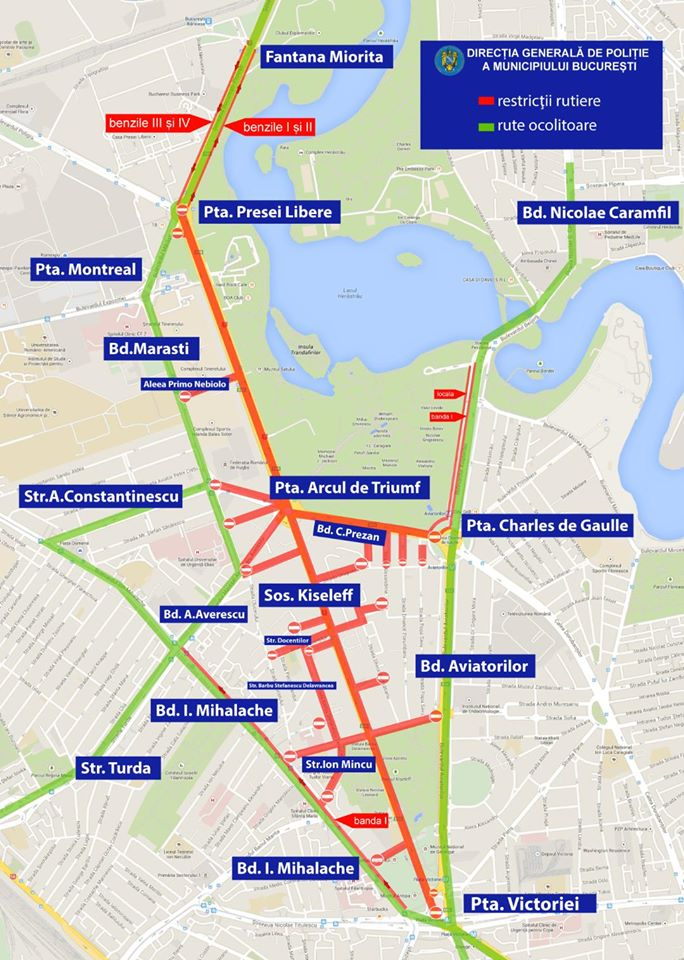 restrictii-harta Restrictii de circulatie in Capitala de 1 decembrie